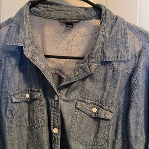 Long sleeve button up denim top